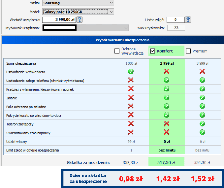 Galaxy Note - ile kosztuje ubezpieczenie samsunga